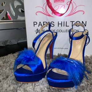 blue feathered Paris Hilton heels